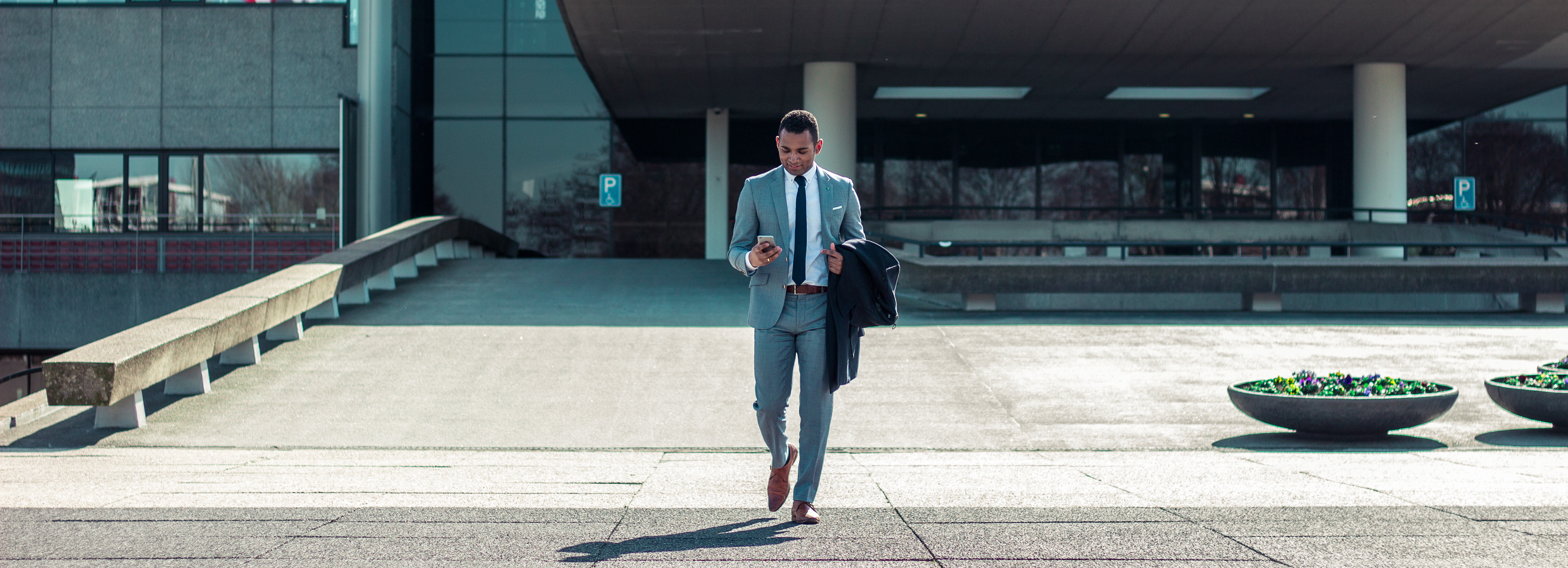 Man Walking out of Office